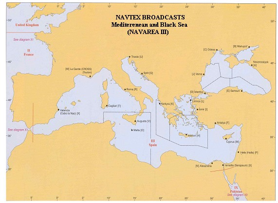 NAVTEX Broadcasts Mediterranean and Black Sea