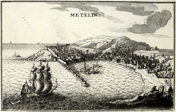 The port of Lesvos, engraving