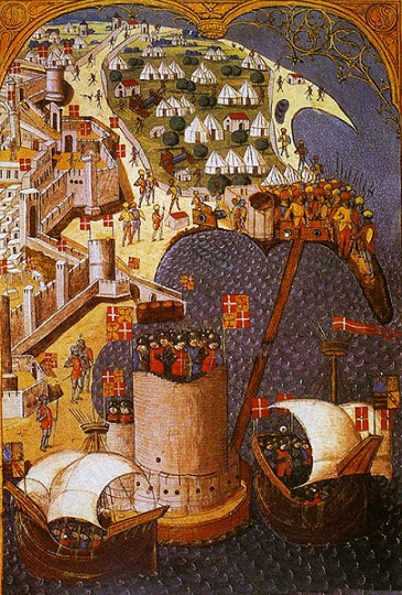 Rhodes, the tower of St Nicholas and the palace of the Grand Masteri n 1480, 42 years before the seizure of the island by the Ottomans