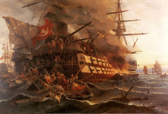 The setting on fire of the Ottoman battleship 'Bektaş Kaptan' by Dimitrios Papanikolis in Eressos of Lesvos in 1821, during the Greek War of Independence.