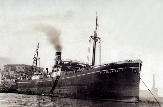 The steamship 'Evgenia Chandri', built in 1920. The Chandris family played a major role in shipping in Chios and Greece.