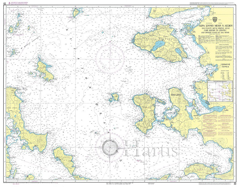 Cape Sounio to Lesbos Island and Asia Minor Coast Nautical Chart