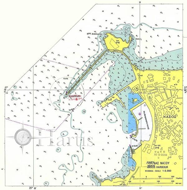 Naxos Bay and Harbour (Naxos Island) Nautical Chart