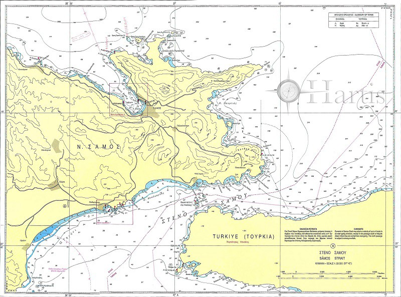 Samos Strait - Samos Bays and Harbours Nautical Chart
