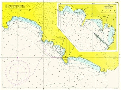 Andros - Tinos Narrow. Approaches of Tinos Harbour Nautical Chart