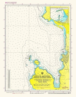 Approaches and Mykonos Harbour Nautical Chart