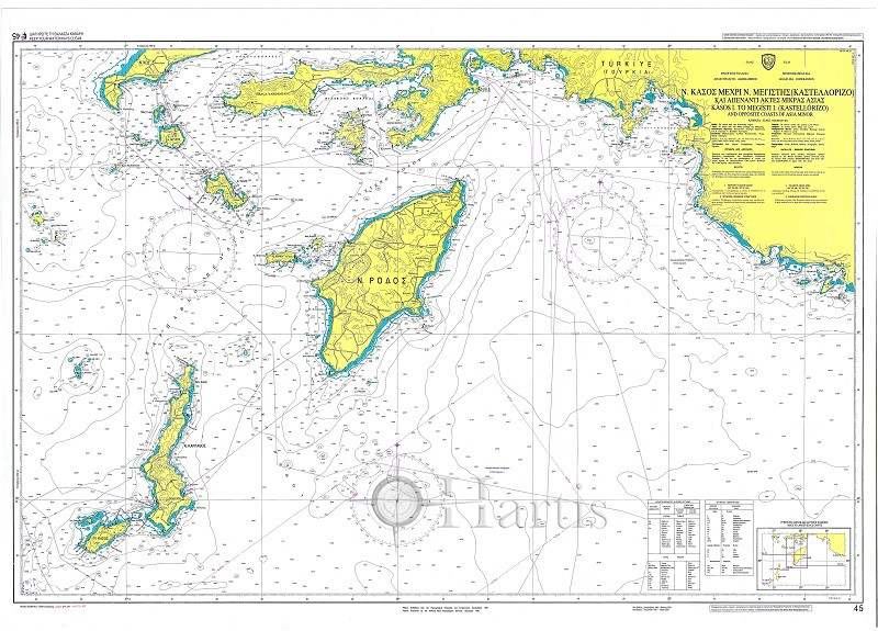 Kasos Island to Megisti & Kastellorizo Islands & opposite Asia Nautical Chart