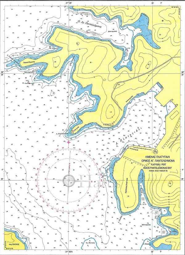 Echinades Islands - Channel and Port of Mesolongi Nautical Chart