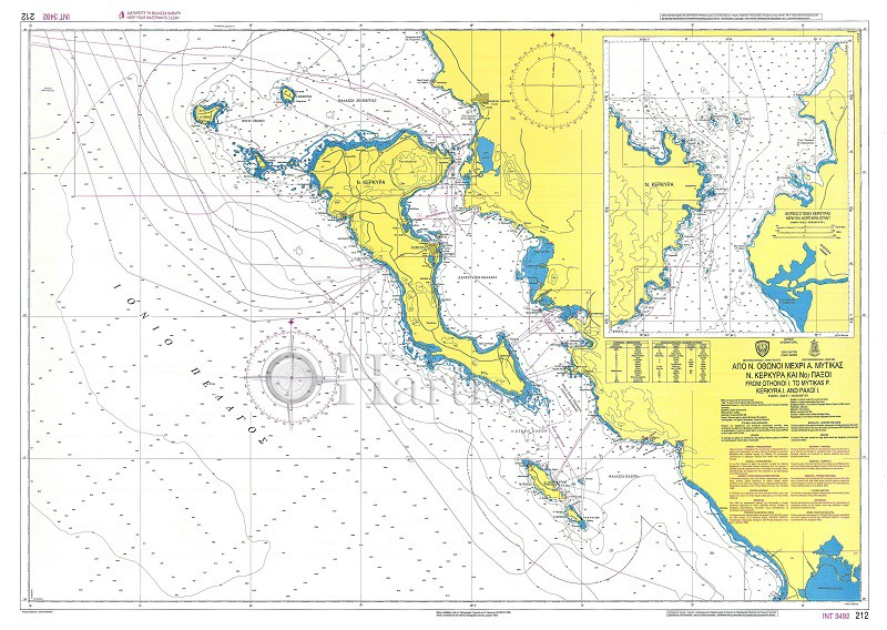 From Othonoi Islands to Mytikas Point - Kerkyra Island and Paxoi Nautical Chart