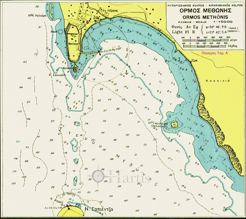 Harbours and Bays of the SW Coasts of Peloponissos Nautical Chart