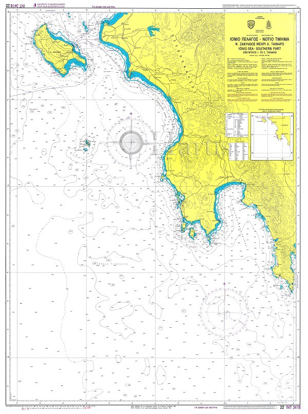 South Ionian Sea - Zakynthos to Cape Tainaro Nautical Chart