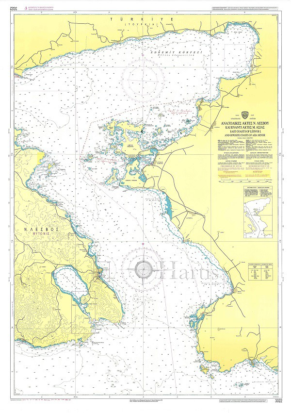 East Coast of Lesvos & Asia Minor Coast Nautical Chart