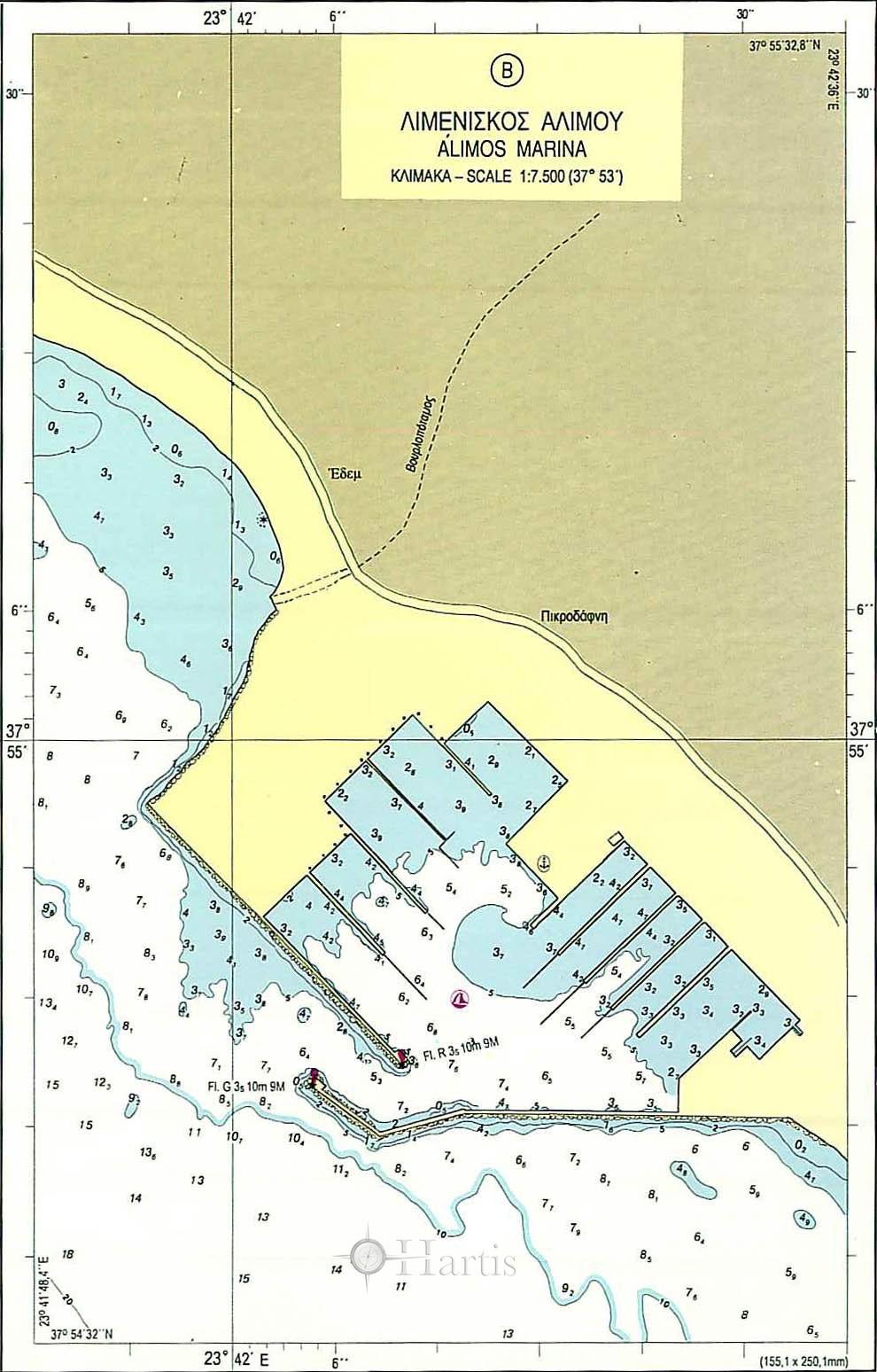 Zea Marina to Cape Aixoni Nautical Chart