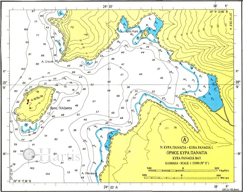 Alonissos to Psathoura Islet (Sporades Islands) Nautical Chart